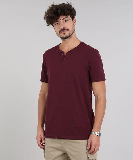 Camiseta-Masculina-Basica-com-Botoes-Manga-Curta-Gola-Careca-Vinho-9555552-Vinho_1