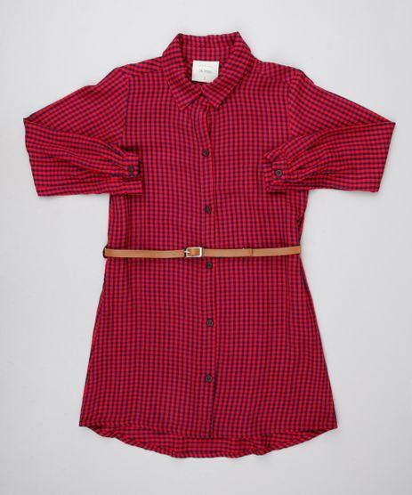 Vestido-Chemise-Infantil-Estampado-Xadrez-com-Cinto-Manga-Longa-Vermelho-9550233-Vermelho_1
