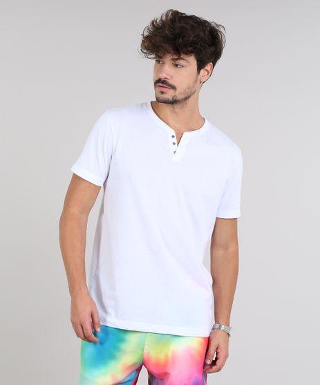 Camiseta-Masculina-Basica-com-Botoes-Manga-Curta-Gola-Careca-Branca-9555552-Branco_1