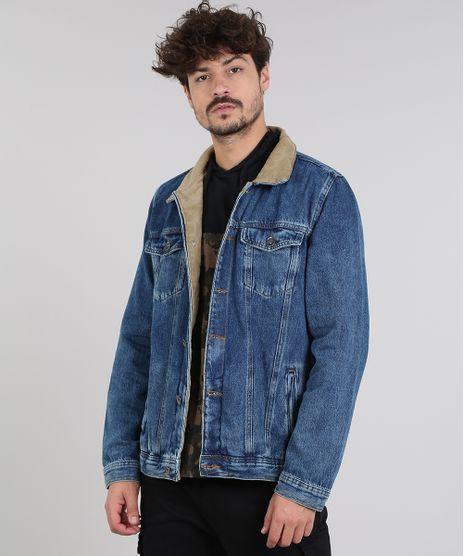 Jaqueta-Jeans-Masculina-com-Rasgos-e-Veludo-Cotele-Azul-Medio-9554717-Azul_Medio_1