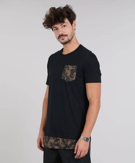 Camiseta-Masculina-Longa-com-Bolso-Estampado-Camuflado-Manga-Curta-Gola-Careca-Preta-9614589-Preto_1
