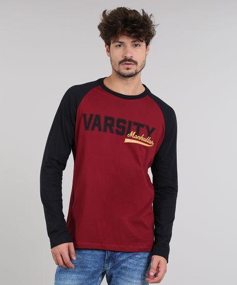 Camiseta-Masculina-Raglan--Varsity--Manga-Longa-Gola-Careca-Vinho-9549098-Vinho_1