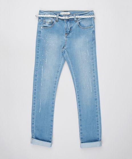 Calca-Jeans-Infantil-com-Brilho-Puidos-e-Cinto-Metalizado-Azul-Claro-9554905-Azul_Claro_1