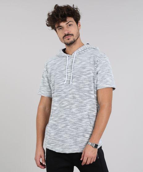 Camiseta-Masculina-em-Moletom-Flame-com-Bolso-e-Capuz-Manga-Curta-Cinza-Mescla-Claro-9314848-Cinza_Mescla_Claro_1