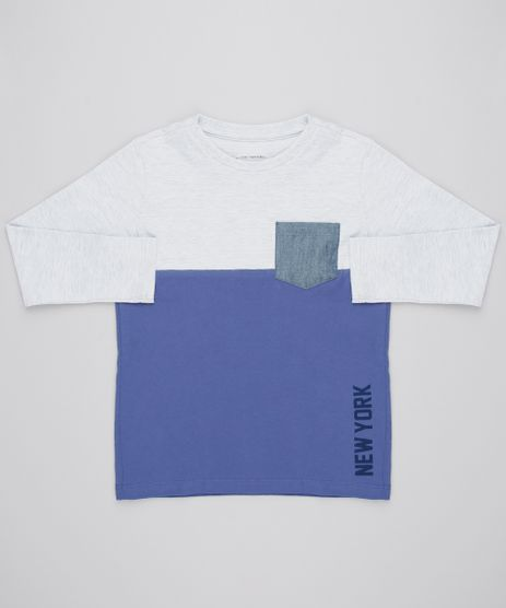 Camiseta-Infantil--New-York--com-Bolso-Manga-Longa-Gola-Careca-Cinza-Mescla-Claro-9558626-Cinza_Mescla_Claro_1