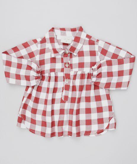 Vestido-Infantil-Estampado-Xadrez-com-Botoes-Manga-Longa-Vermelho-9550582-Vermelho_1