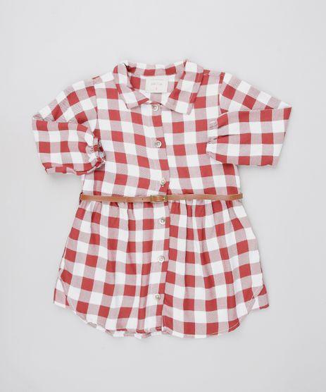 Vestido-Chemise-Infantil-Estampado-Xadrez-com-Cinto-Manga-Longa-Vermelho-9550588-Vermelho_1