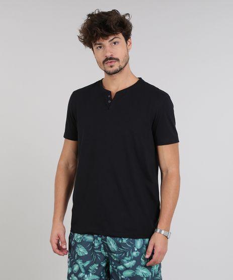 Camiseta-Masculina-Basica-com-Botoes-Manga-Curta-Gola-Careca-Preta-9555552-Preto_1
