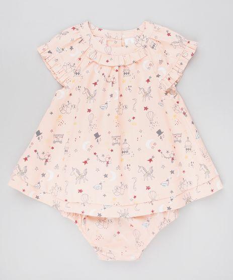 Vestido-Infantil-Estampado-com-Babados-Sem-Manga---Calcinha-Coral-9450992-Coral_1