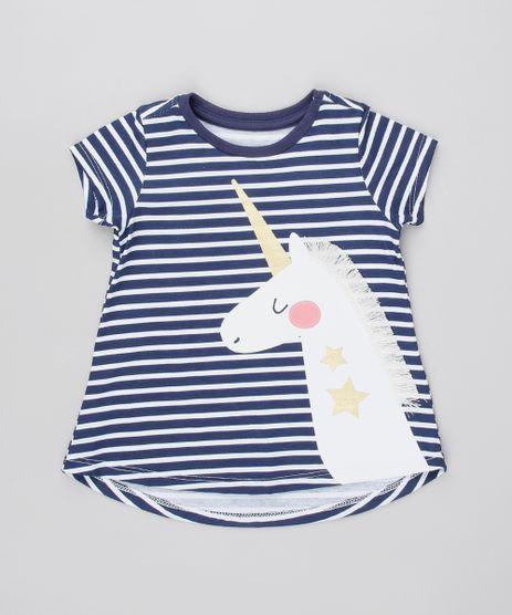 Blusa-Infantil-Listrada-Unicornio-com-Franjas-Manga-Curta-Azul-Marinho-9538130-Azul_Marinho_1