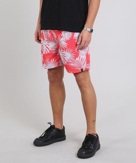 Short-Masculino-Estampado-de-Folhagem-com-Bolsos-Coral-9439736-Coral_1