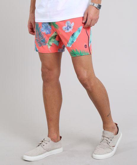 Short-Masculino-Estampado-de-Folhagens-com-Bolso-Coral-9525318-Coral_1