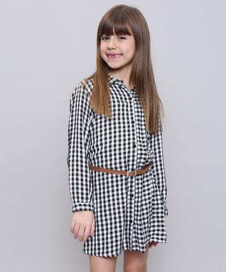 Vestido-Chemise-Infantil-Estampado-Xadrez-com-Cinto-Manga-Longa-Preto-9550231-Preto_1