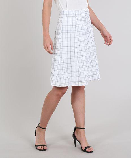 Saia-Feminina-Estampada-Xadrez-com-Cinto-Off-White-9502462-Off_White_1