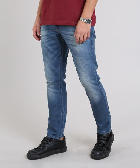 Calca-Jeans-Masculina-Slim-com-Rasgos-Azul-Medio-9304462-Azul_Medio_1