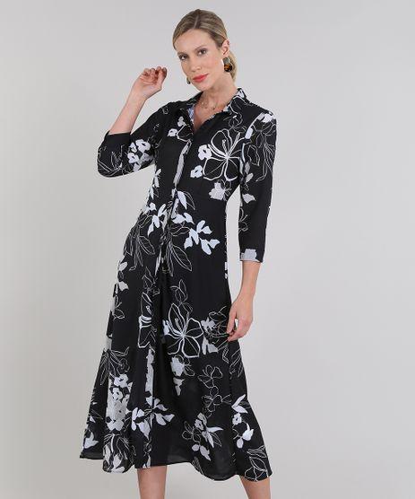Vestido-Chemise-Feminino-Midi-Estampado-Floral-Manga-3-4-Preto-9578228-Preto_1