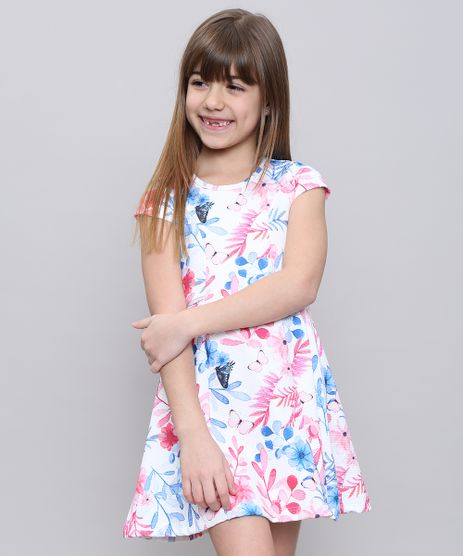 Vestido-Infantil-Estampado-Floral-Manga-Curta-Branco-9585658-Branco_1