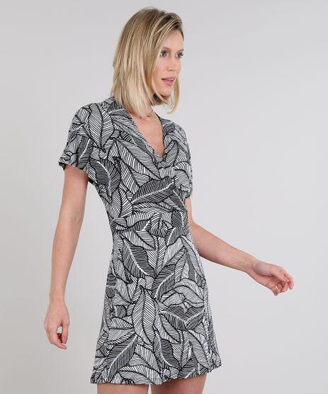 Vestido-Feminino-Curto-Canelado-Transpassado-Estampado-de-Folhagem-Manga-Curta-Branco-9581015-Branco_1