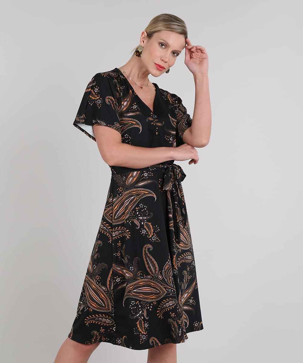 Vestido Feminino Estampado Paisley com Botões Manga Curta Preto