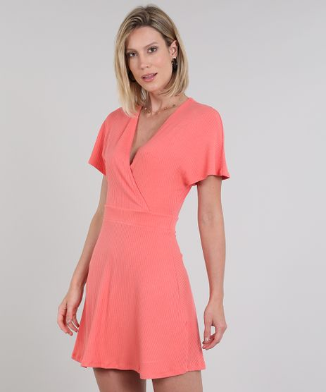 Vestido-Feminino-Curto-Canelado-Transpassado-Manga-Curta-Coral-9581014-Coral_1