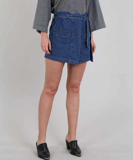 Short-Saia-Jeans-Feminino-Clochard-com-Faixa-de-Amarrar--Azul-Medio-9594613-Azul_Medio_1