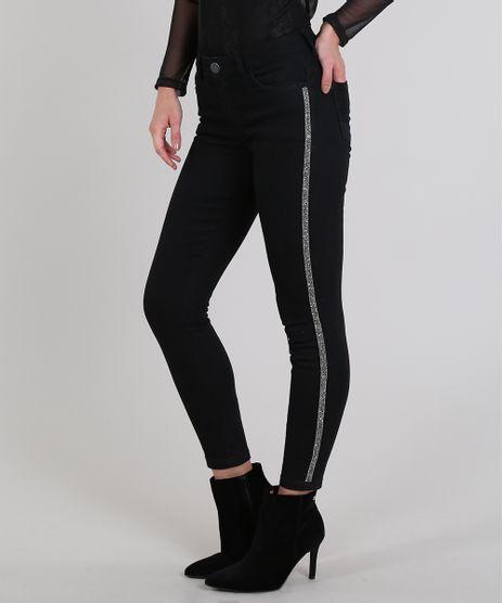 Calca-Jeans-Feminina-Cigarrete-Faixa-Lateral-com-Brilho-Preta-9606765-Preto_1