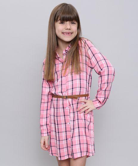 Vestido-Chemise-Infantil-Estampado-Xadrez-com-Cinto-Manga-Longa-Rosa-9550232-Rosa_1