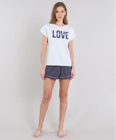Pijama-Feminino--Love-Yourself--Manga-Curta-Cinza-Mescla-Claro-9548256-Cinza_Mescla_Claro_1