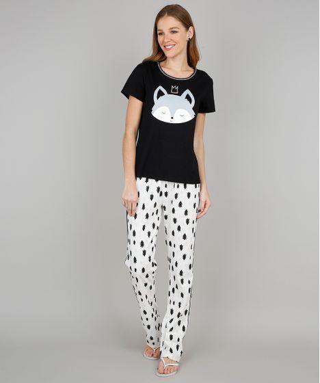 ecec593ff242b5 Pijama Feminino Coala Manga Curta Preto