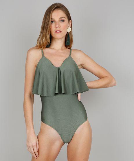 Maio-Body-Feminino-Texturizado-com-Babado-e-Bojo-e-Protecao-UV-50-Verde-9563104-Verde_1