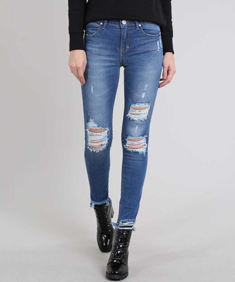 Calca-Jeans-Feminina-Skinny-Destroyed-Barra-Desfiada-Azul-Medio-9588883-Azul_Medio_1