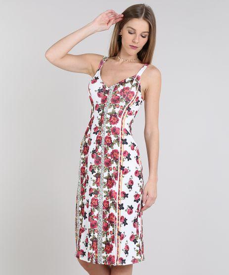 Vestido-Feminino-Estampado-Floral-com-Botoes-e-Fenda-Alca-Media-Branco-9571117-Branco_1