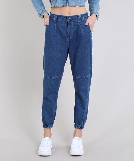 Calca-Jeans-Feminina-Jogger-com-Bolsos-Azul-Medio-9594590-Azul_Medio_1