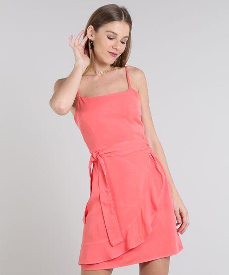 Vestido-Feminino-Curto-com-Babado-Alca-Fina-Coral-9589544-Coral_1