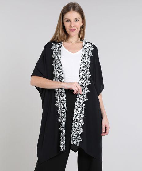Kimono-Feminino-com-Estampa-de-Arabescos-e-Fendas-Manga-Curta-Preto-9641574-Preto_1