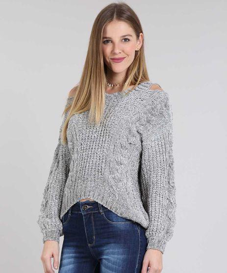 Sueter-Feminino-Open-Shoulder-em-Trico-de-Chenille-Cinza-9433432-Cinza_1