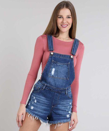 Jardineira-Jeans-Feminina-Relaxed-com-Rasgos-Azul-Medio-9589279-Azul_Medio_1