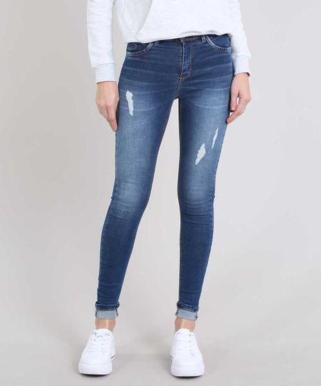 Calca-Jeans-Feminina-Skinny-com-Rasgos-Barra-Dobrada-Azul-Medio-9543136-Azul_Medio_1