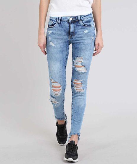 Calca-Jeans-Feminina-Skinny-Destroyed-com-Bolso-Azul-Medio-9573580-Azul_Medio_1