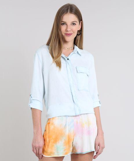 Camisa-Jeans-Feminina-com-Bolso-Manga-Longa-Azul-Claro-9594641-Azul_Claro_1