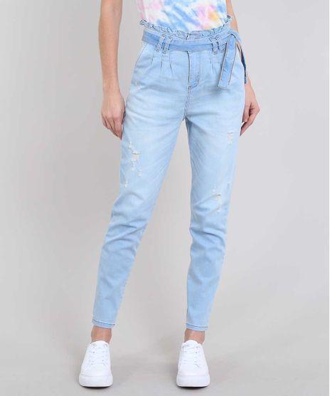 Calca-Jeans-Feminina-Sawary-Mom-com-Faixa-e-Rasgos-Azul-Claro-9619262-Azul_Claro_1