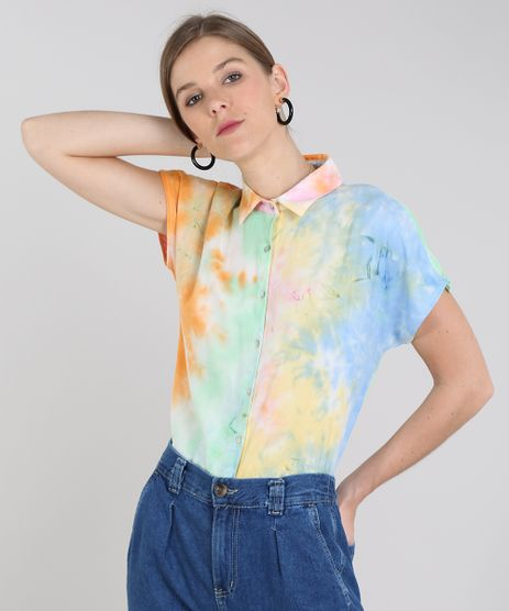 Camisa-Feminina-Tie-Dye-Manga-Curta-Multicor-9578561-Multicor_1