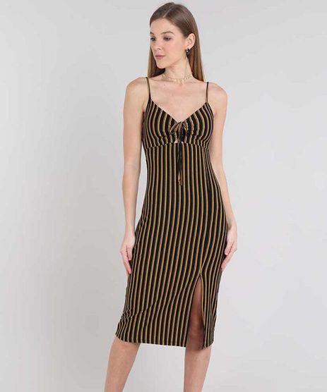 Vestido-Feminino-Midi-Listrado-com-Vazado-Alca-Fina-Mostarda-9439864-Mostarda_1