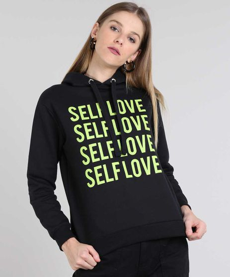 Blusao-Feminino-em-Moletom--Self-Love--com-Capuz-e-Bolso-Preto-9584182-Preto_1