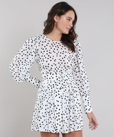 Vestido-Feminino-Mindset-Curto-Estampado-de-Poa-com-Pregas-e-Cinto-Manga-Longa-Off-White-9660316-Off_White_1