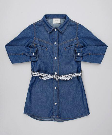 Vestido-Chemise-Jeans-Infantil-com-Faixa-Estampada-Xadrez-Manga-Longa-Azul-Escuro-9545988-Azul_Escuro_1