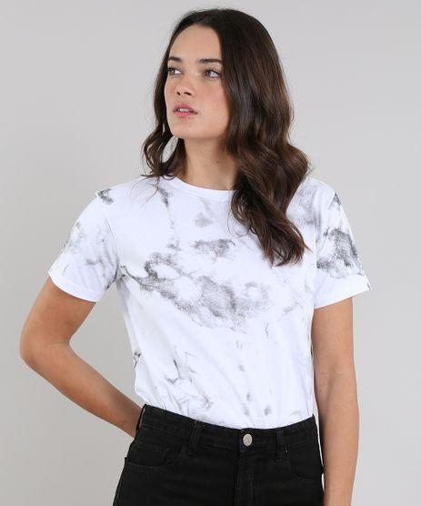 3d2643042 T-Shirt-Feminina-Mindset-Marmorizada-Manga-Curta-Decote-