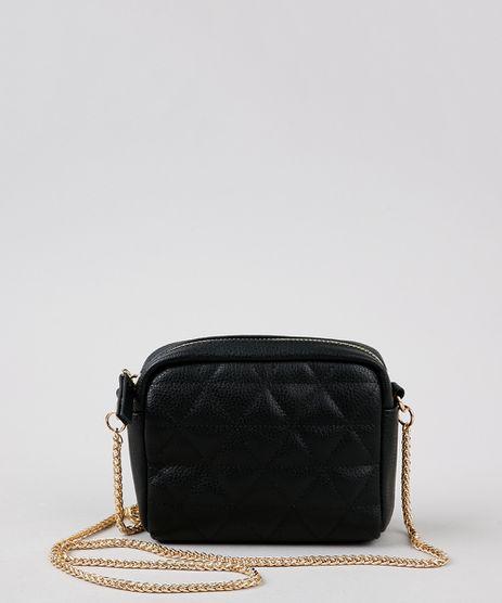 Bolsa-Feminina-Transversal-Pequena-com-Matelasse-Alca-Corrente-Preta-9484650-Preto_1