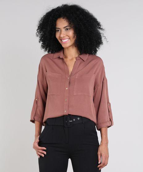 Camisa-Feminina-com-Bolsos-Manga-7-8-Marrom-9450872-Marrom_1
