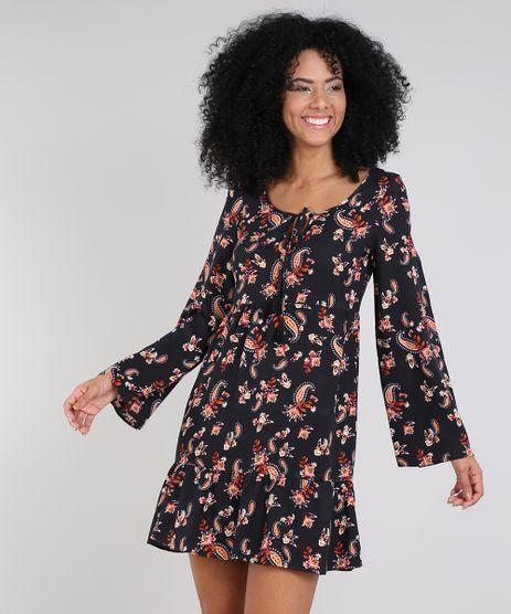 Vestido-Feminino-Curto-Estampado-Paisley-com-Tassel-Manga-Sino-Preto-9575912-Preto_1